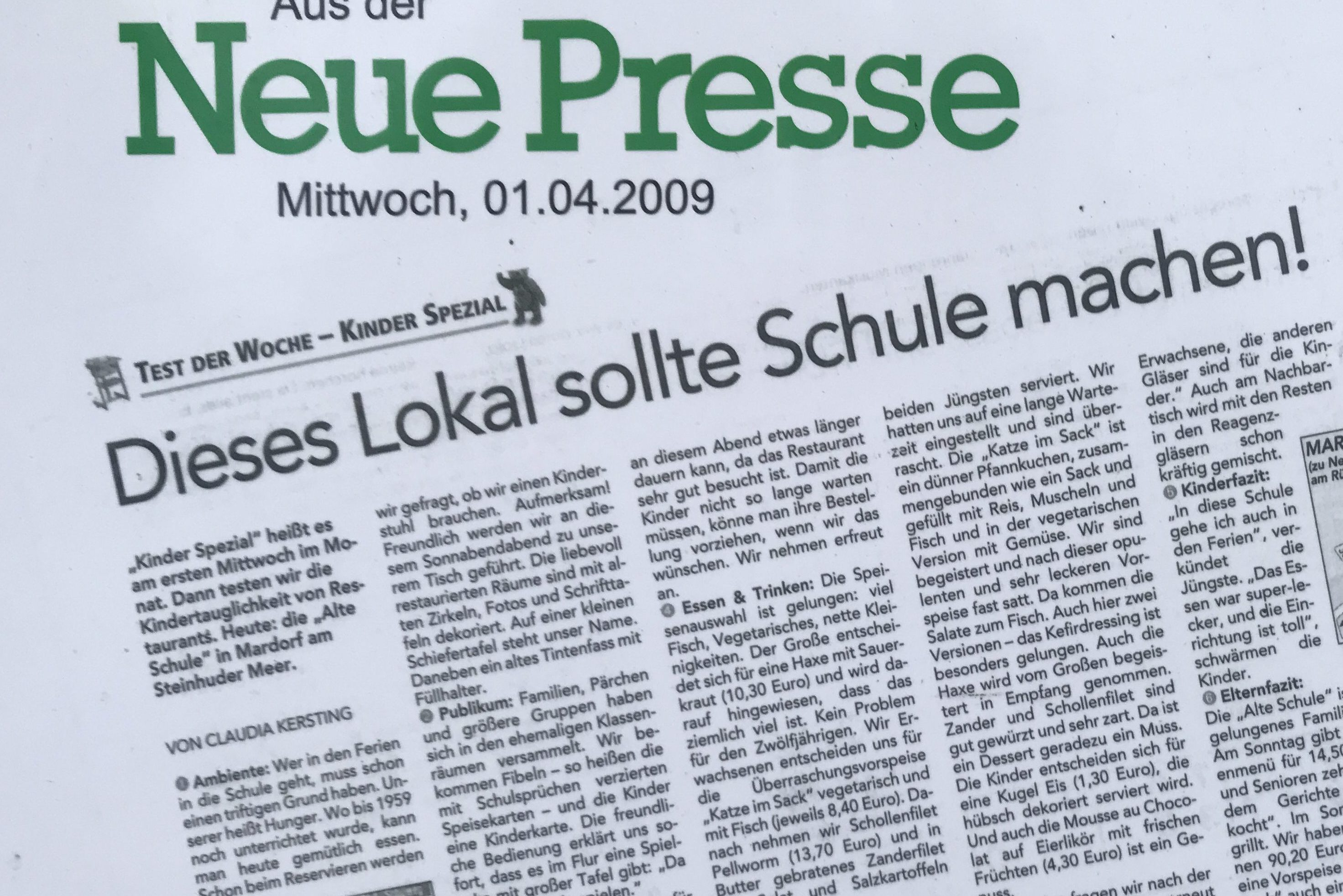 Alte Schule in der Neue Presse
